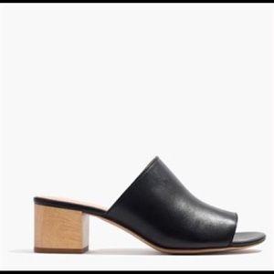 MADEWELL Devon Leather Mule Slide Peep Toe Heel